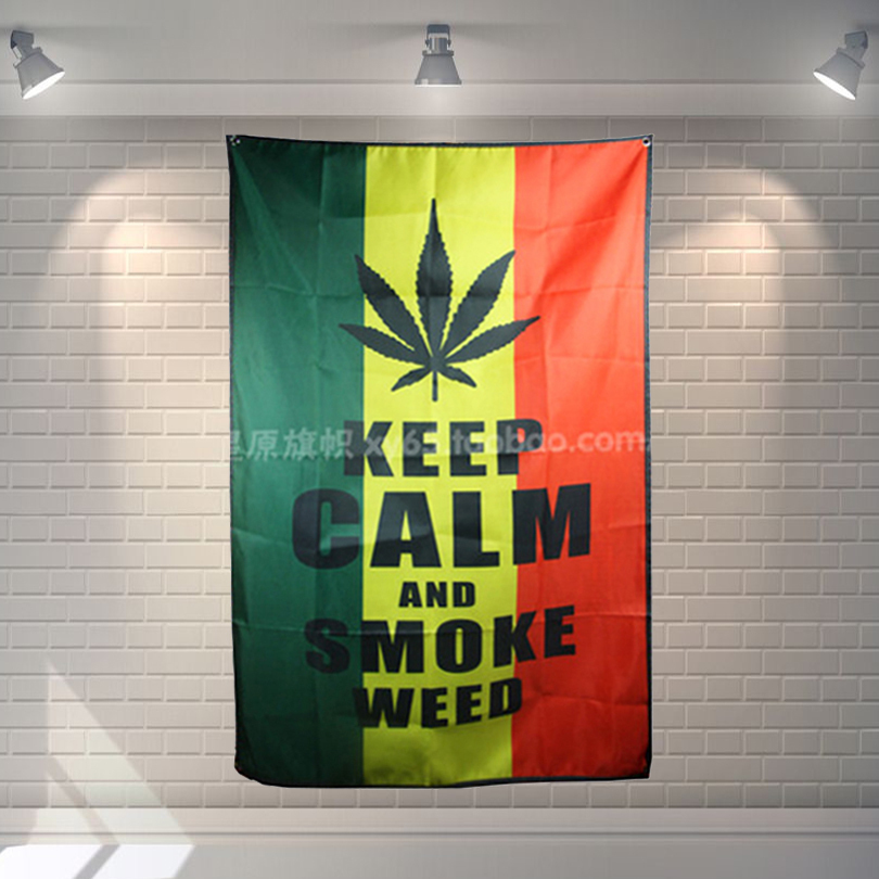 KEEP CALM AND SMOKE WEED Big size rock band Sign retro poster 56X36 inches HD Banners Fl ...