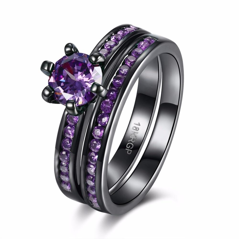 Creative Double Layer Combination Ring Black Set Inlaid Noble Purple Zircon Elegant Lady Wear Punk Style