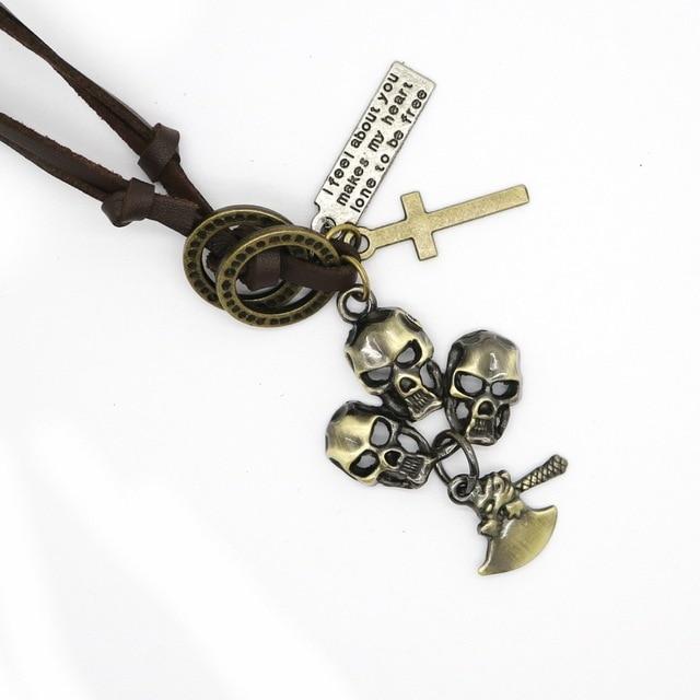 Мужское кожаное ожерелье с подвеской в виде черепа