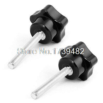 M6 x 40mm Male Thread Metal Clamping Star Knob Grip Black Silver Tone 2 Pcs