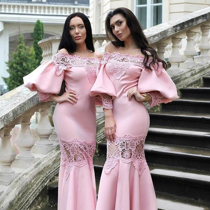 Gorgeous Juliet Sleeves Bridesmaid Dresses 2019 Off Shoulder Lace Applique Mermaid Prom Dress Ankle Length vestido longo