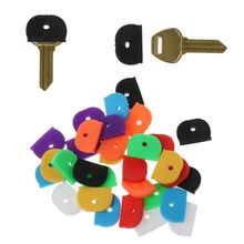 32Pcs Key Cap Tags Label ID Silicone Coding Color Key Identifier Cover 8 Colors 50 in 1 assorted color plastic key id label name card tags keychains keyrings