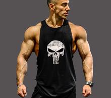 New Fashion Tank Top Men Skull Printing Fitness Mens Sleeveless Crossfit Shirt Cotton Casual Style Slim Singlets Muscle Tops