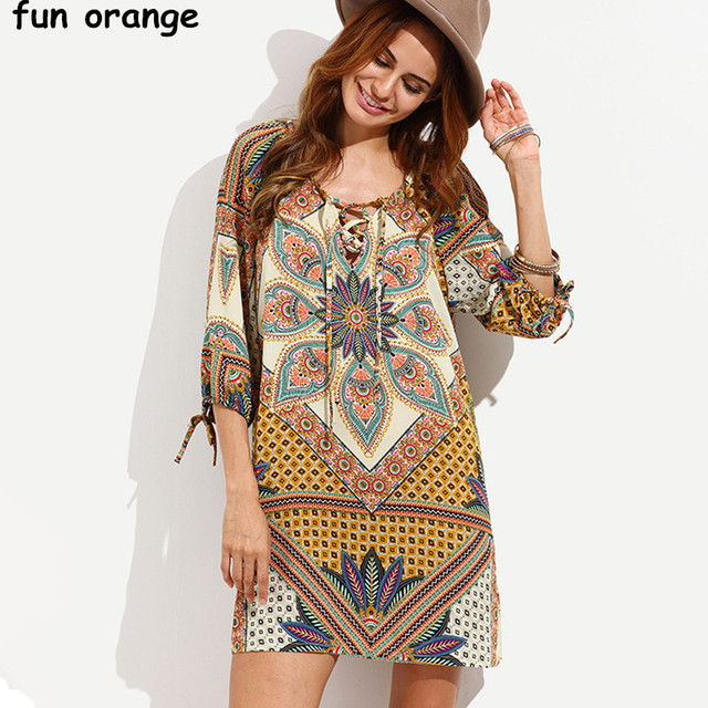Fun Orange Women Bohemian Dress Beach Boho Dresses Y Deep V Neck Summer