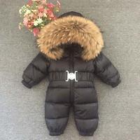 2019 Winter Baby Boys Overalls Toddler Girls Rompers White Down Jumpsuit Real Fur Hoodie Children Onesie Outerwear Snowsuit