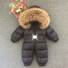 Mioigee Baby Jumpsuits Boys Winter Overalls Baby Girls Rompers Duck Down Jumpsuit Real Fur collar Children Outerwear Snowsuit цены онлайн