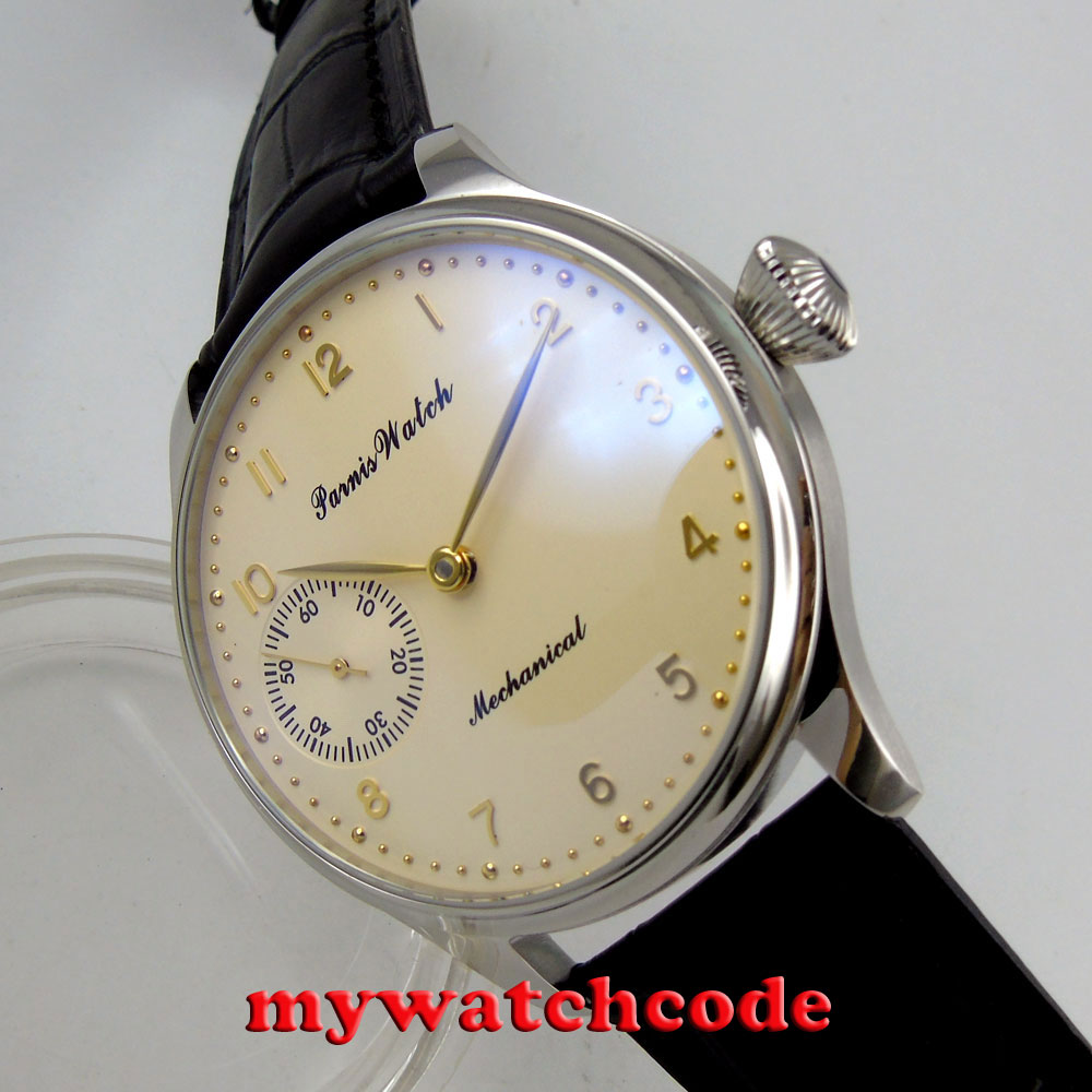 цена 44mm parnis yolk yellow dial golden marks 6497 movement hand winding mens watch онлайн в 2017 году