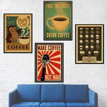 Póster clásico de café Vintage para bares café manuales de cocina para preparar café Retro papel Kraft decoración de pared cartel de pared vintage