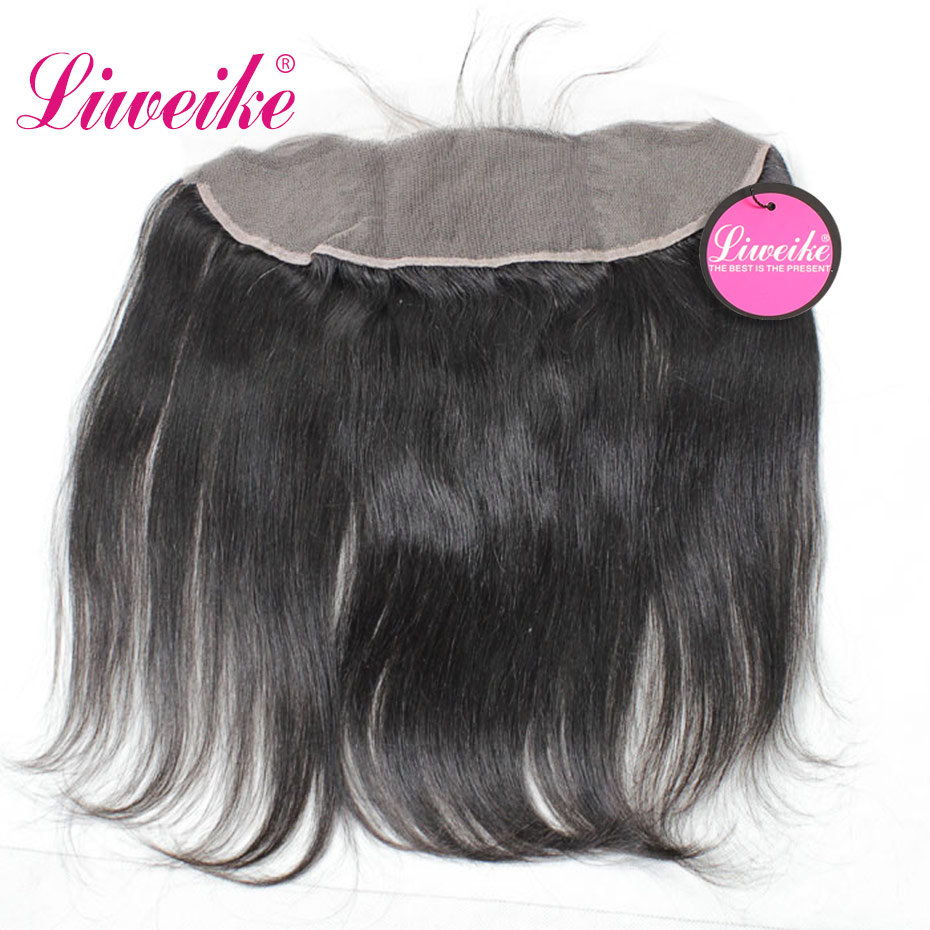 Liweike Straight 13*4 Lace Frontal Brazilian Human Hair Remy Hair Silk Base Frontal Silky Free Part Transparent Lace Front 1B