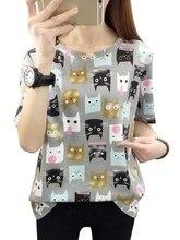Fashion Cartoon Printed Short-sleeved T-shirt Harajuku Cute Cat Summer Tees Womens New Casual TShirts M-2XL