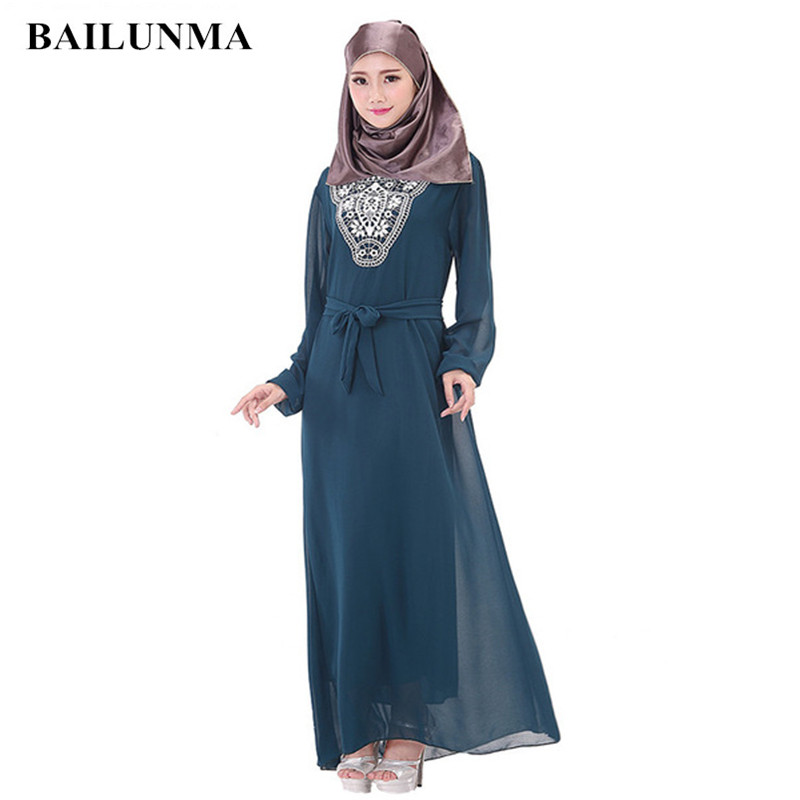 Hijab dress Chiffon Muslim women Arabic fashion dresses plus size abaya hijab indonesia B30002