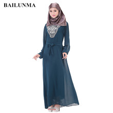 Hijab dress Chiffon Muslim women Arabic fashion dresses plus size abaya hijab indonesia B30002