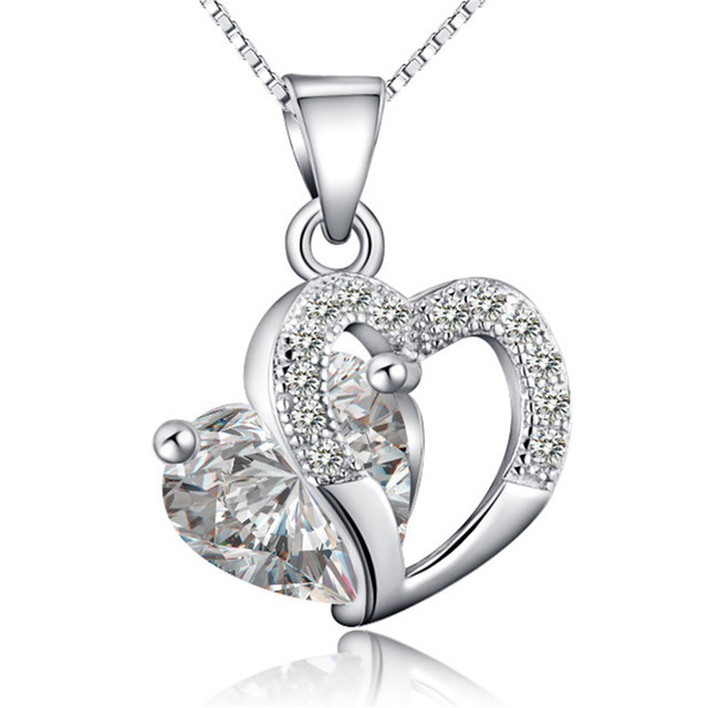 Women's Necklace Zircon Crystal Heart Jewelry