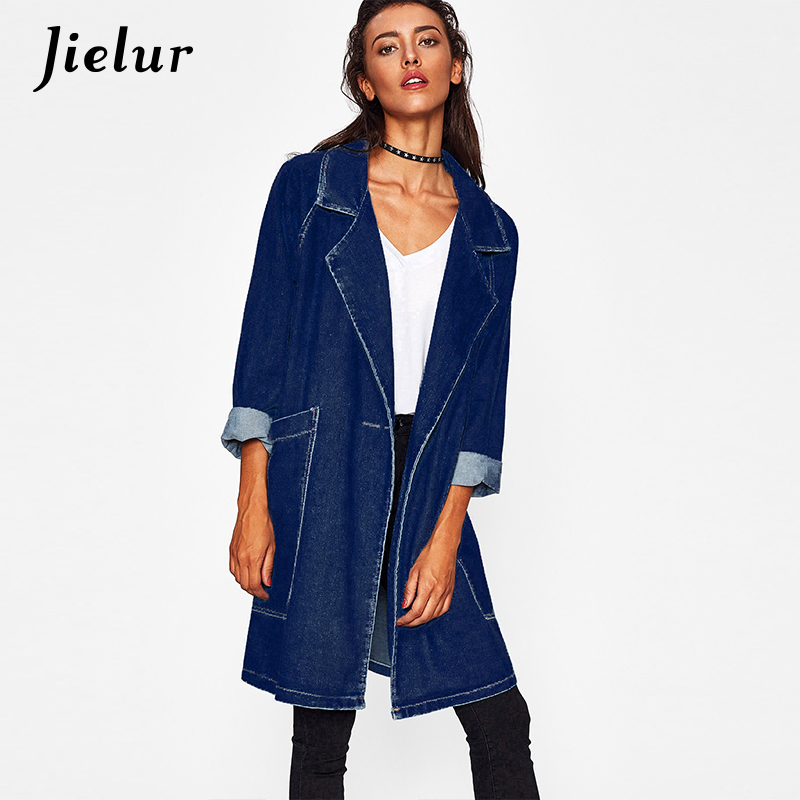 Autumn Winter New Turn-down Collar Big Pocket   Trench   Coat Single Button Loose Long Overcoat Denim Coat for Women Windbreaker