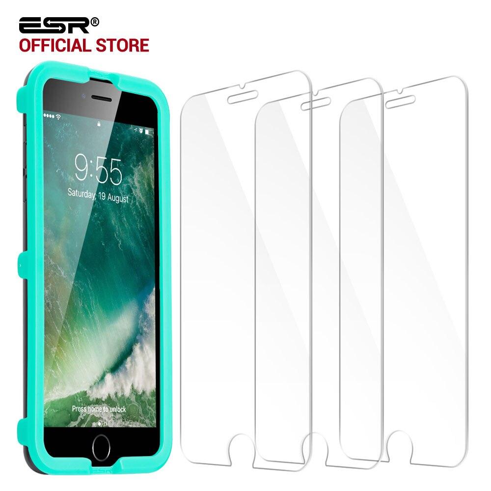 Displayschutzfolie für iphone 7/6 s/6 s Plus, ESR [3 Pack] Dreibettzimmer Strength Gehärtetem Glas Schutzfolie Applikator für iPhone6 6 s 7 Plus