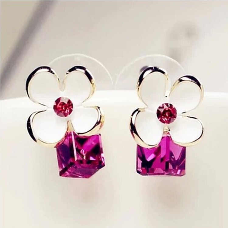 Beautiful welry Brincos Fashion Flower Red Rose Earrings For Women Vintage Plant Crystal Earring