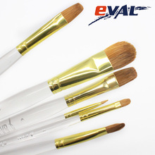 Eval 6pcs Fine Hand painted Weasel Hair Transparent Crystal Acrylic Water Color Brush Pen Set DIY