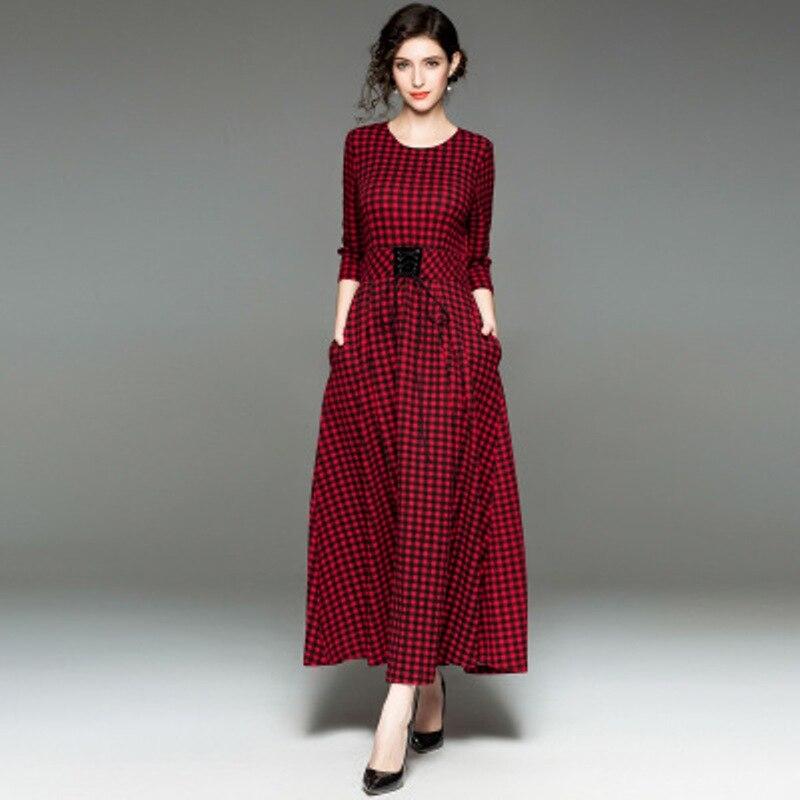 Automne Club Pour Rouge 2018 New Office Imprimer Robe Longues Élégante Supérieure Sexy Lady Printemps O Mince Qualité Robes Femmes Cou WEDH29IY