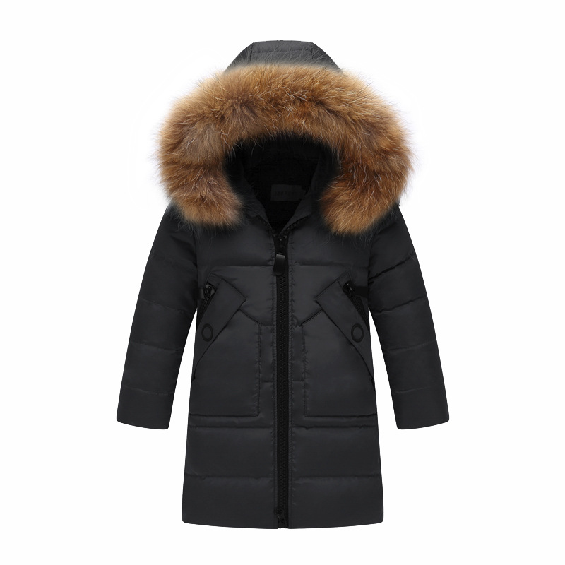 Image 1 - Children Winter Jacket Fur Collar Kids Duck Down Parkas Coat For Teens Girl 6 8 10 12 14 Years Outerwar Coat Dwq352-in Down & Parkas from Mother & Kids