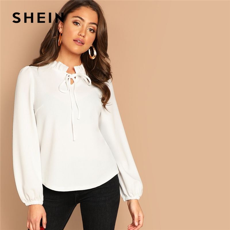 SHEIN White Workwear Elegant Tie Neck Frill Trim Solid Long Sleeve Blouse Autumn Office Lady Casual Women Tops And Blouses