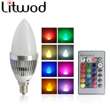 Litwod Z20 LED Lamp E27/E14 110V-220V 3W bulb light Power candle light Ball bulb RGB light Remote control candle light(China)