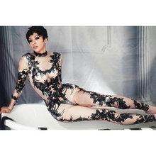 Black Pattern Rhinestones Jumpsuit Women Club Skinny Overalls Party Outfit Female Singer St
