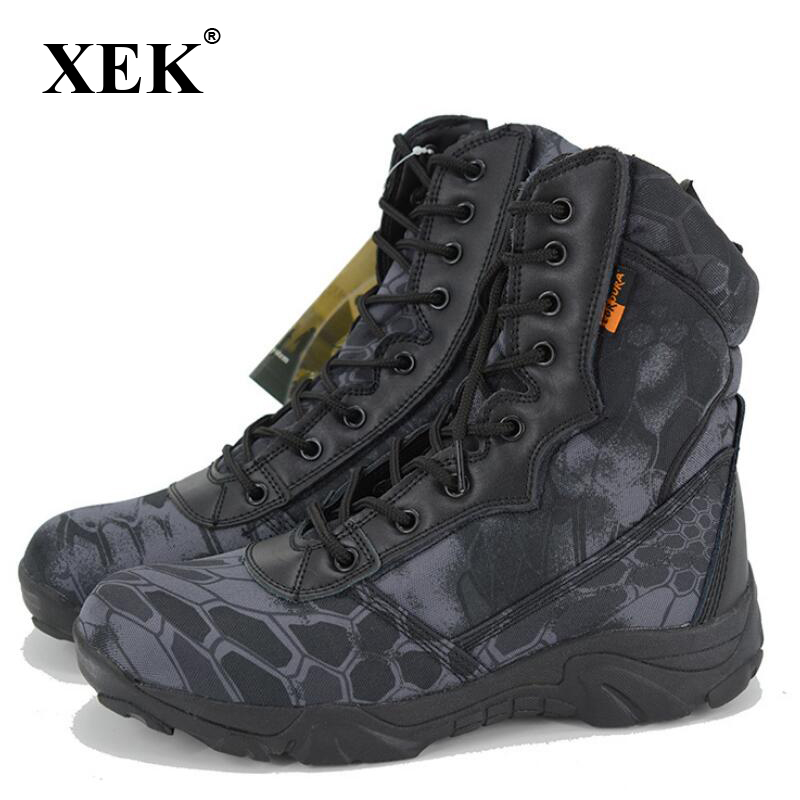 XEK Men Military Tactical Boots Autumn Winter Waterproof Leather Army Boots Desert Safty Work Shoes Combat Ankle Boots wyq08XEK Men Military Tactical Boots Autumn Winter Waterproof Leather Army Boots Desert Safty Work Shoes Combat Ankle Boots wyq08
