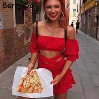 BerryGo Ruffles off shoulderwomen jumpsuit romper Sexy elastic high waist cross lace up backless overalls Summer beach jumpsuit