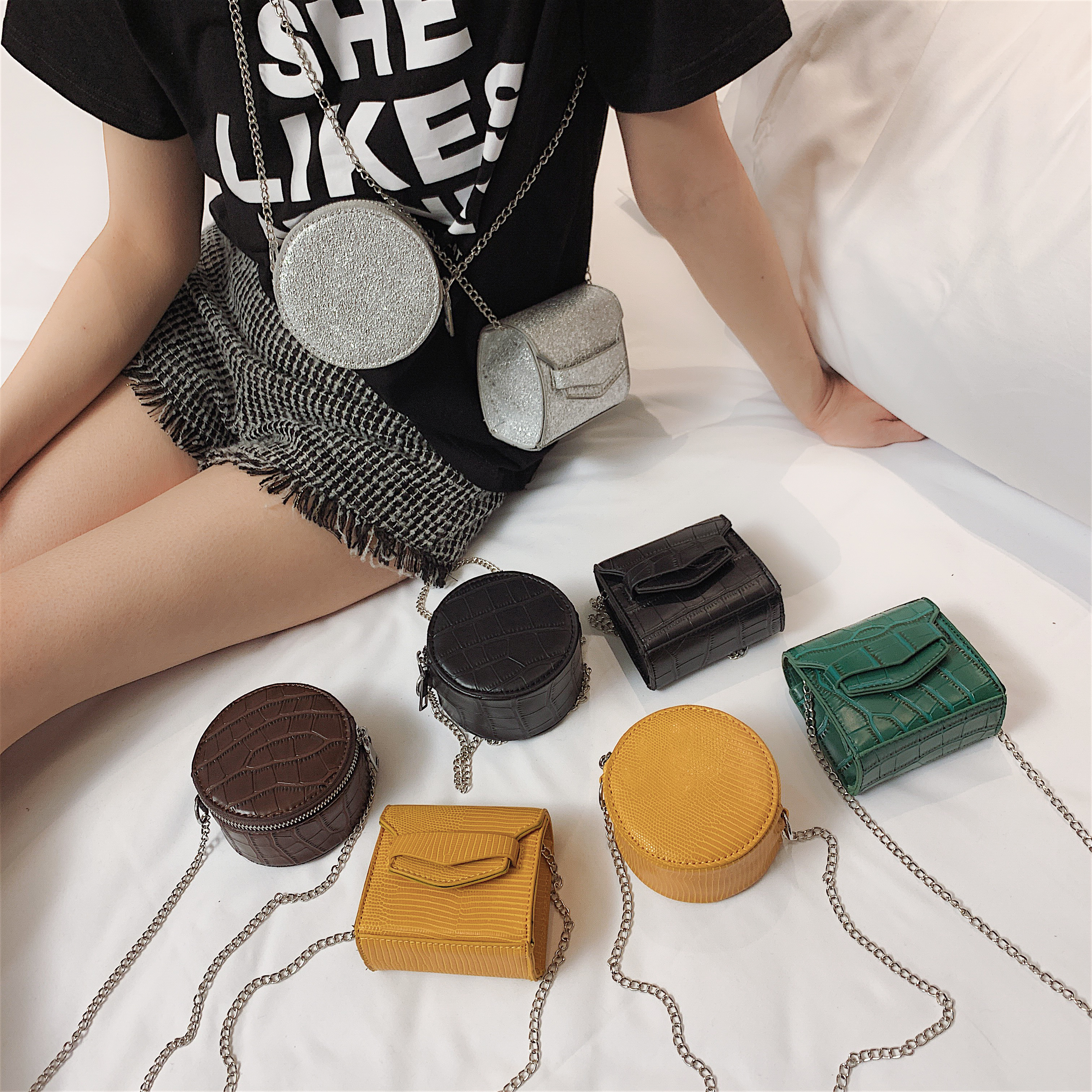 Mini Cute PU Leather Crossbody Bags For Women 2020 Round  Square Messenger Shoulder Bag Ladies Phone Purses And Handbags