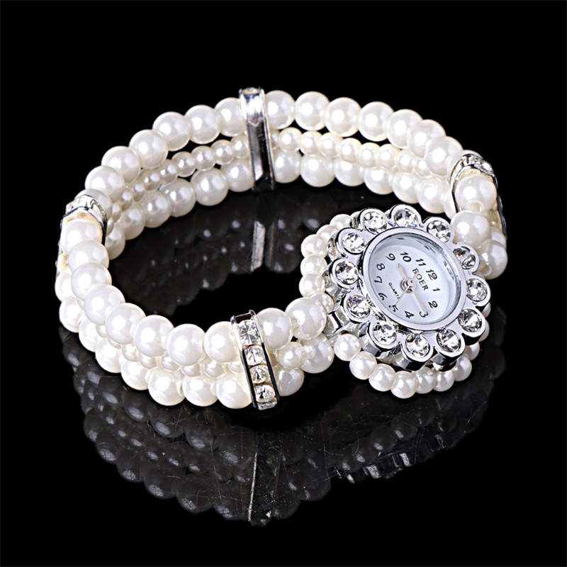 JAVRICK Women's White Pearl String Strap Wrap Wrist Watch Crystal Accented Beads Style