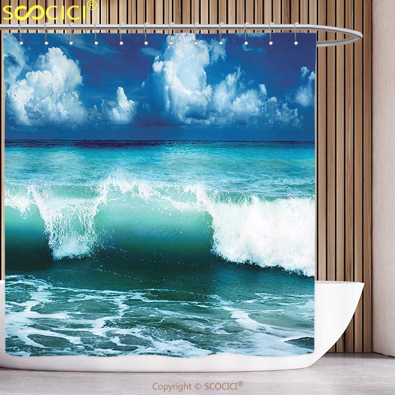 Unique Shower Curtain Ocean Surf Waves Decor Caribbean Sea and Water Splash Picture for Surfers Print Accessories Navy Blue