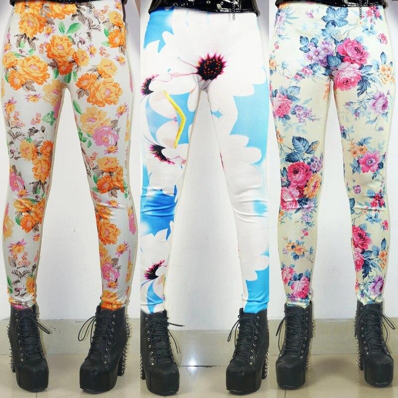 Flower Leggings Ladies Girls Slim Leggings Quality Leggings Yoga Pants Stretchy Printed Pencil Pants Skinny Pants FlyDesignStore