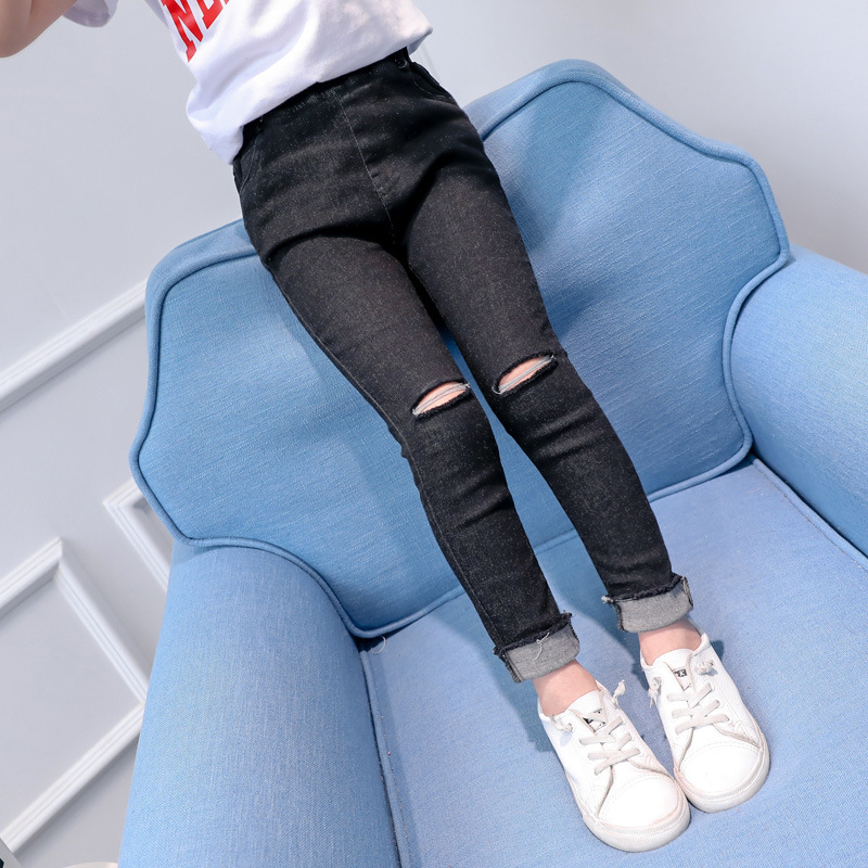 4 5 6 7 8 9 10 11 12 13 Years Ripped Jeans For Girls Teenagers 2018 Spring Slim Kids Denim Pant Casual Skinny Teens Trousers dark blue middle waist skinny shredded ripped jeans with four pockets