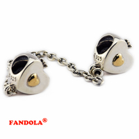 Fit Pandora Bracelets Gold Heart and Crown Safety Chain Beads Authentic 925 Sterling Silver Charms Jewelry Free Shipping