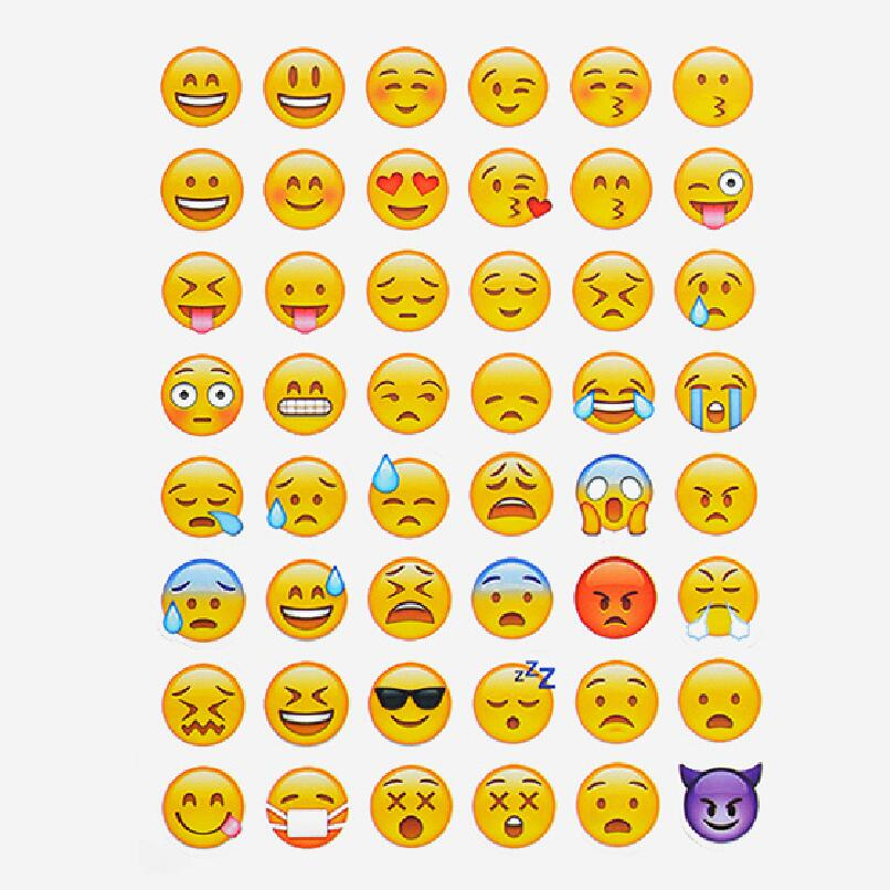 one sheet 48stickers hot popular sticker 48 Emoji Smile face stickers for notebook, message Twitter Large Viny Instagram