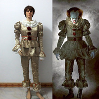 Stephen King's It Cosplay Costume Pennywise Clown costume suit Custom made fancy Halloween Terror costume For Adult Men