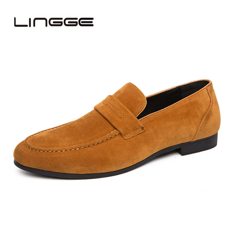 LINGGE Casual Casual Loafers 2019 แฟชั่นหนังขี้เกียจขับรถ Loafers Slip บนรองเท้าเรือรองเท้า Stylist รองเท้า
