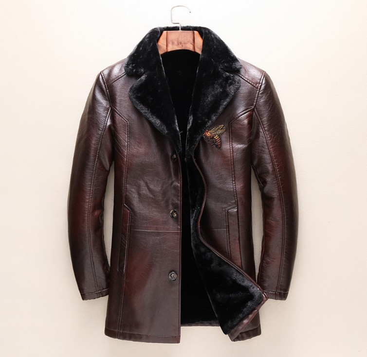 Brand New Winter Luxury Brown Embroidery Bee Vintage Coat Fur Lining Thick Jacket Outwear Trench High Quality #L32