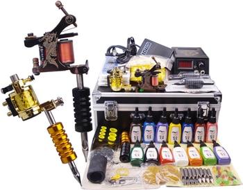 professional body piercing kit complete tattoo kit  2 top tattoo gun cosmetic superior tattoo supply tattoo machine case