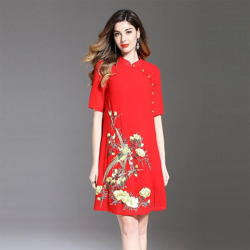 rosso Del Il Di 2018 Abiti Nero Mandarino Collare Qualità Nuovo Piuttosto  Estate Delle Allentato Cinese Elegante Stile Vestito ... b32515d95d3