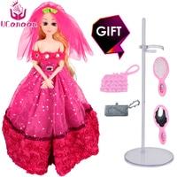 2017 New UCanaan Luxury Red Wedding Princess Doll Fashion Girl Toys Best Friend Play House Sticker