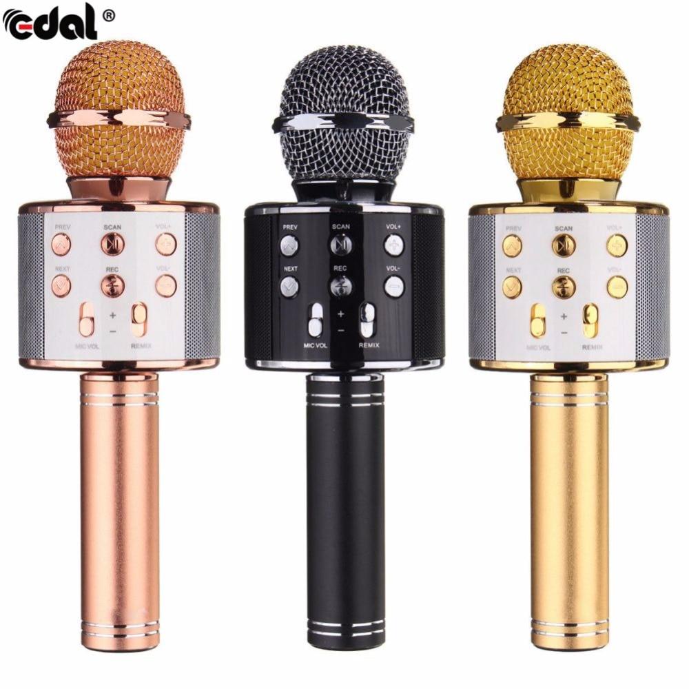 EDAL WS-858 Microfone KTV Jogador Karaoke Microfone de Mão Sem Fio Bluetooth USB Bluetooth Speaker Mic Gravar Música Microphon