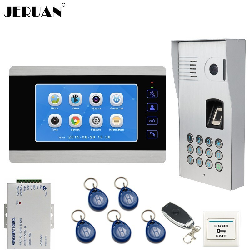 JERUAN Wired 7 inch Video Door Phone Doorbell Intercom System Record Monitor + Fingerprint Code Keypad 800TVL RFID Access Camera