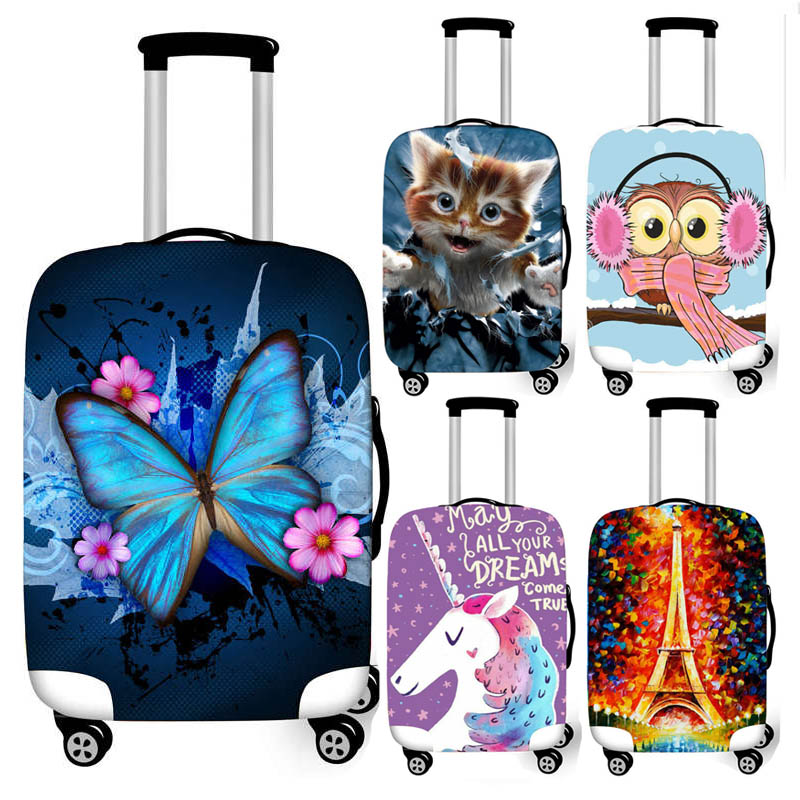 Butterfly / Unicorn / Eiffel Tower Print Luggage Cover For Travel Baggage Elastic Suitcase Cover Trolley Case Protective Covers