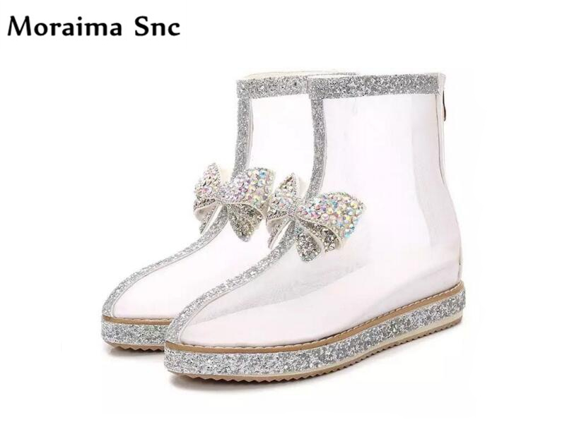 Sexy Vamp Net Snc Bottines Bout Pictures Bling noeud Date As Rond Papillon Femmes Chaussures Décoration 2018 Transparent Moraima Bn866
