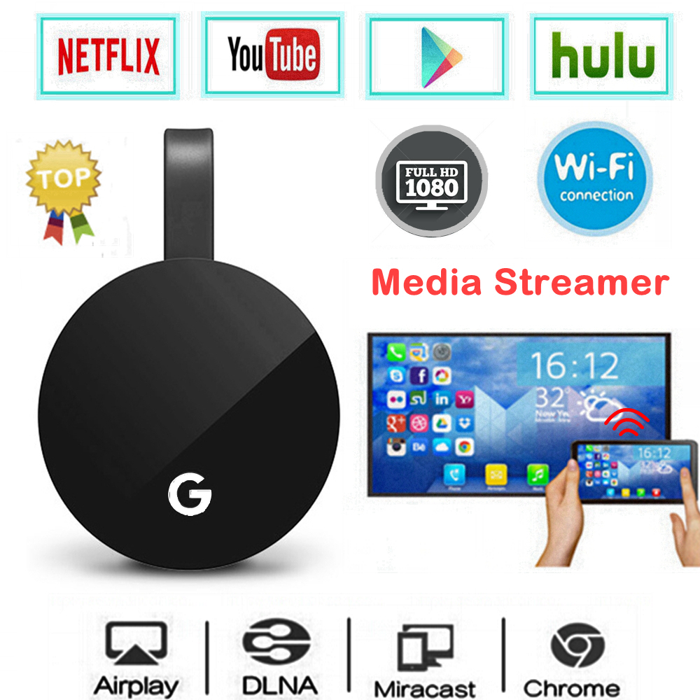 WiFi Display Dongle for Google Chromecast 2 HDMI Audio Netflix YouTube Media Streamer Miracast Chrome Crome Cast 2 Mirascreen G2