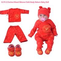 G170 22 дюйм(ов) моделирование Смешанные Силиконовые ткани тела возрождение Reborn Baby Doll Soft для мальчиков Игрушки безопасный реальной жизни синий