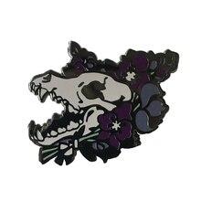 Волчий значок с волком, брошь, твердая эмалированная булавка