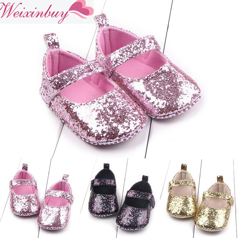 Newborn Baby Shoes Baby Girls Summer Princess Shoes Sequins Infant Soft Sole First Walkers PU Leather Soft Bottom Toddler Shoes