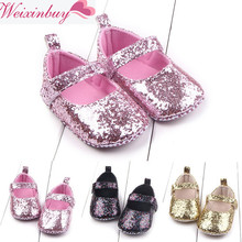 Купить с кэшбэком First Walker Toddler Baby Girls Cotton Sequin Infant Soft Sole Shoes Soft bottom Bebe Girls Shoes M1